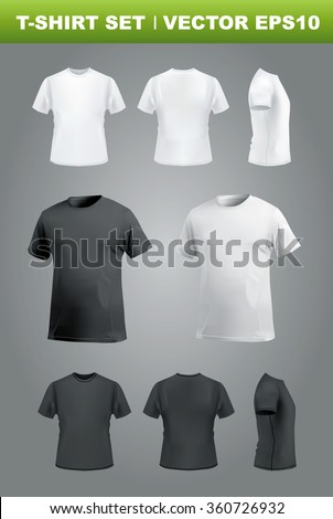 T-shirt mockup set, front, side, back and perspective view. Vector eps10 illustration - stock vector