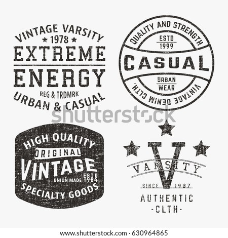 Tshirt print design set various vintage stock vector for Stamp t shirt printing