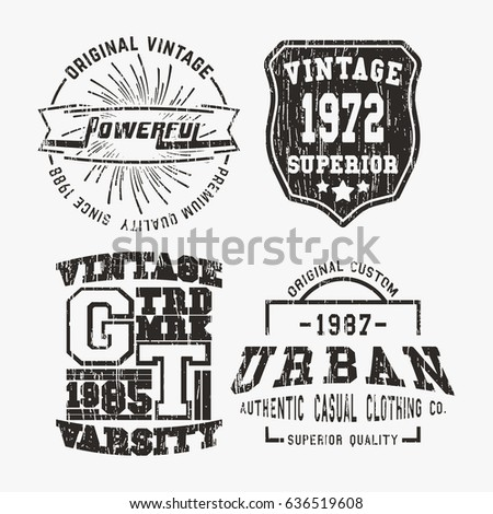 Tshirt print design set various vintage stock vector for T shirt printing and labeling