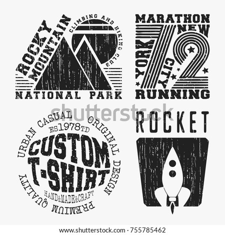Mountain silhouette logo icons badges labels stock vector for T shirt printing and labeling