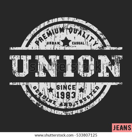 Tshirt print design union vintage stamp stock vector for T shirt printing and labeling
