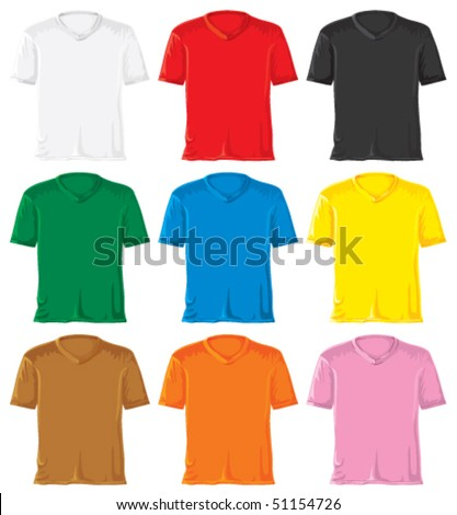 T-shirt set with triangle collar. Without gradients, great for printing. Easy to handle. Vector. - stock vector