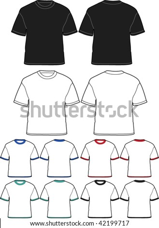 t-shirt template - front and back - vector illustrations - stock vector