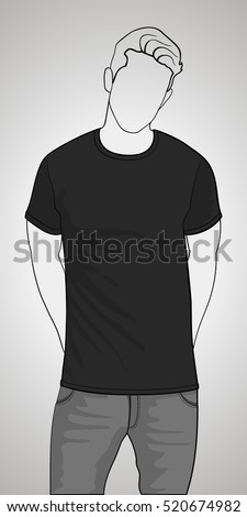 T-shirt template front view on the man. Man gray body silhouette. Black color shirt. Vector eps 8 illustration.