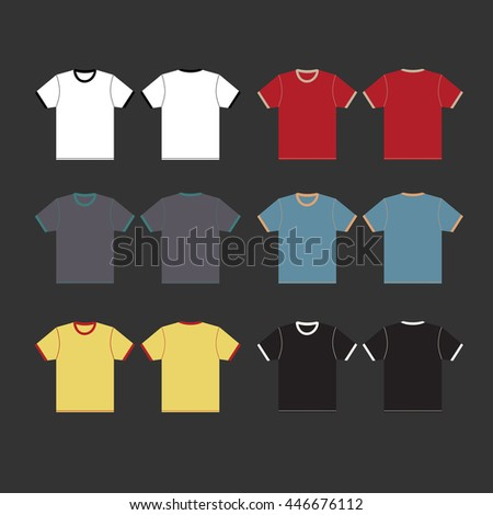 T-shirt template set, front view and side view. Vector illustration.