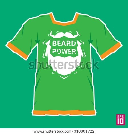 T-shirt template vector. T-shirt with hipster beard and mustache.