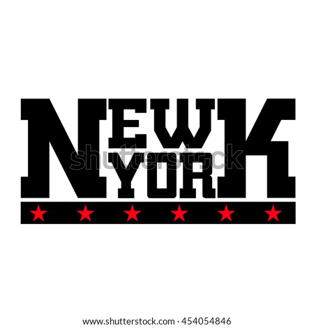 T shirt typography graphics New York. Athletic style NYC. Fashion stylish print for sports wear. Black white red emblem. Template for apparel, card, label, poster. Symbol big city. Vector illustration - stock vector