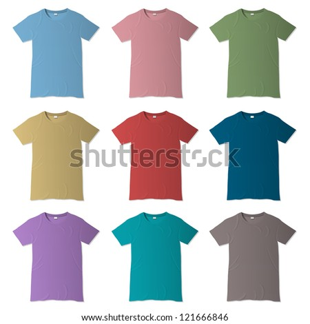T-shirt vector design templates in various colors - stock vector