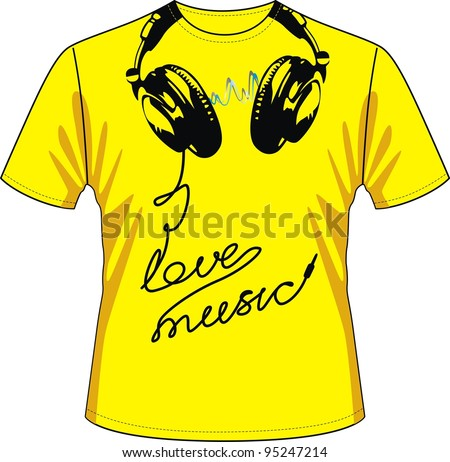 T-shirt with drawing in the form of ear-phones and a wire - stock vector