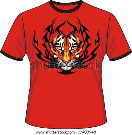 T-shirt with the image of a head of a tiger in tongues of flame - stock vector