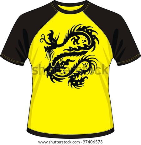 T-shirt with the image of the stylised dragon - stock vector