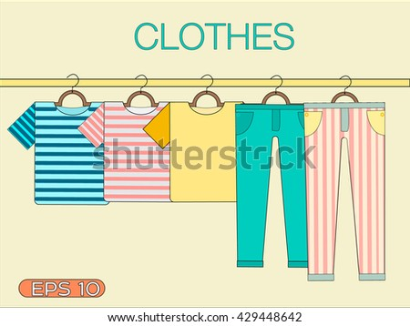 T-shirts and pants with stripes on a hanger. Of clothes on a hanger. Summer clothes. Hanger with clothes. Shopping elements. Summer clothes. Beach clothing on a hanger. set of clothes on a hanger. - stock vector