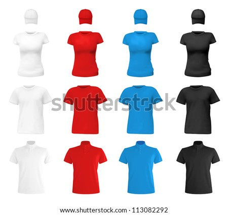 T-shirts, polo shirts and hats template. White, blue, red and black colors. - stock vector