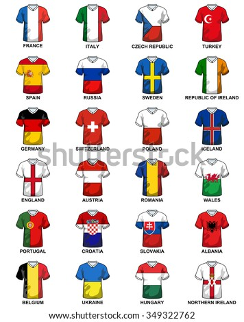 t-shirts with flags of european countries participating to the final tournament of Euro 2016 football championship - stock vector