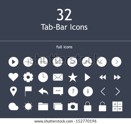 Tab bar full icons for mobile devices - stock vector