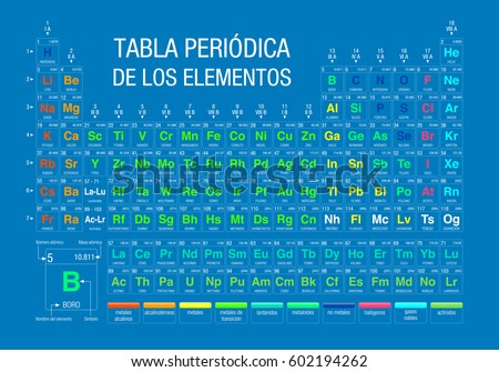 Tabla periodica de los elementos periodic stock vector 602194262 tabla periodica de los elementos periodic table of elements in spanish language on blue urtaz Image collections