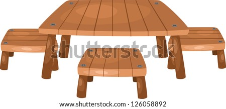 table and chairs. Vector illustration on white background - stock vector