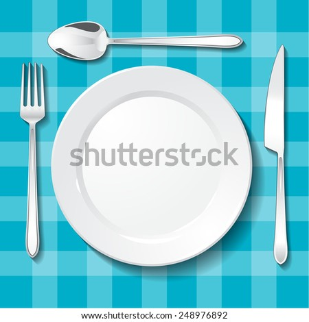 Table appointments. Empty plate and cutlery on blue tablecloth - stock vector