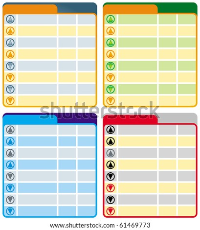 Table, chart background with different colors of row and arrows - stock vector