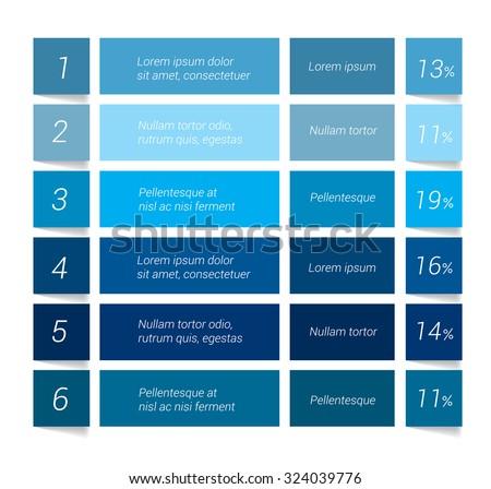 Table, chart, schedule. Infographics elements. - stock vector