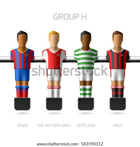 Table football, foosball players. European football championship, Group H - Spain, the Netherlands, Scotland, Italy. Vector. - stock vector