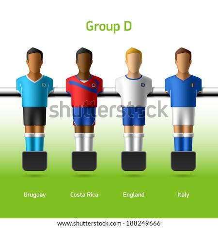 Table football / foosball players. World soccer championship. Group D - Uruguay, Costa Rica, England, Italy. Vector. - stock vector