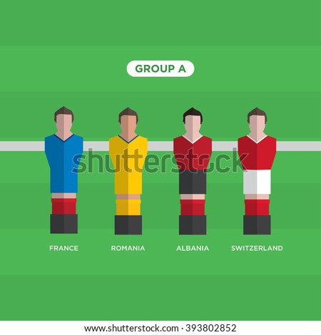 Table Football Soccer players. Group A. Editable vector design.  - stock vector