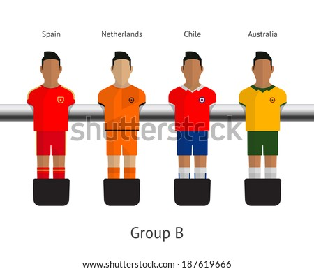 Table football, soccer players. Group B - Spain, Netherlands, Chile, Australia. Vector illustration. - stock vector