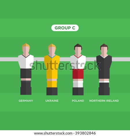 Table Football Soccer players. Group C. Editable vector design.  - stock vector