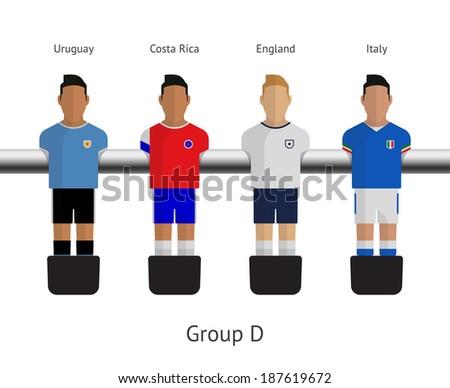 Table football, soccer players. Group D - Uruguay, Costa Rica, England, Italy. Vector illustration. - stock vector