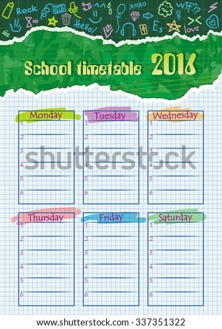 Table for a school calendar for detached notebook sheet. Drawings on paper. - stock vector