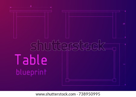 Table Furniture Wireframe Blueprint Dimensions Linear Stock Vector ...
