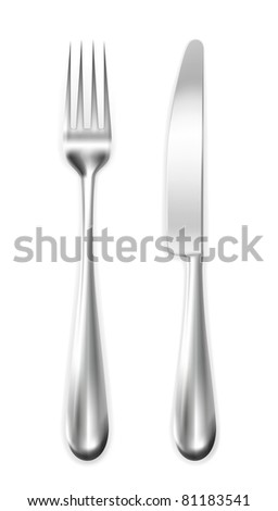 Table knife and  fork, vector - stock vector