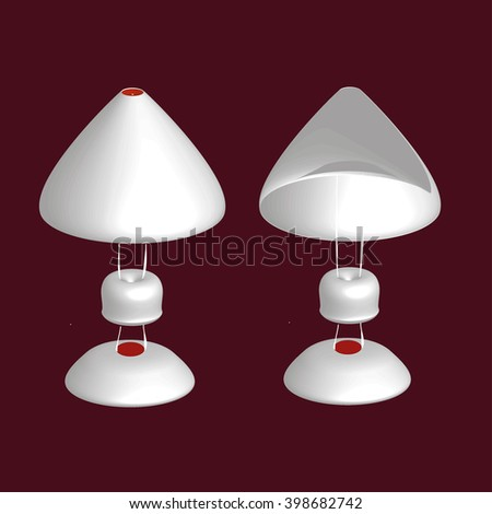 table lamp open and closed on a red background. Lamp set. Lamp logo. Lamp icon. Lamp 3D. Lamp Icon Vector / Lamp Icon Picture / Lamp Icon Drawing / Lamp Icon Image / Lamp Icon Graphic / Lamp Icon Art. - stock vector