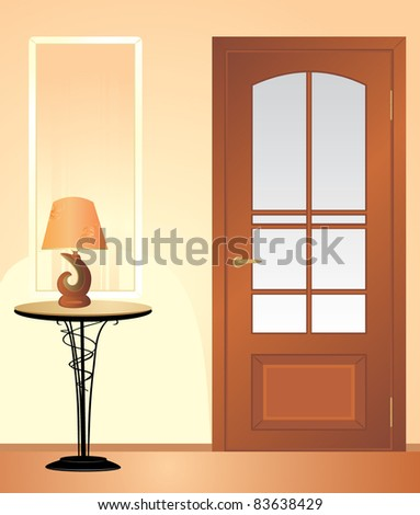 Table night lamp. Fragment of living room. Vector - stock vector