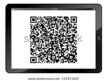 Table PC with QR code on screen isolated on white - stock vector