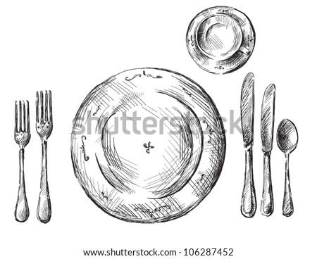 Table setting  sc 1 st  Shutterstock & Table Setting Stock Vector (2018) 106287452 - Shutterstock