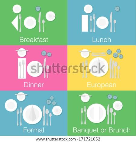Table setting Flat Design - stock vector