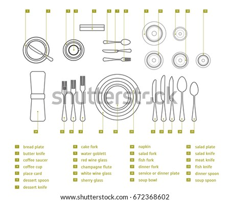 Table Setting Place Formal Thin Line Stock Vector 672368602 ...