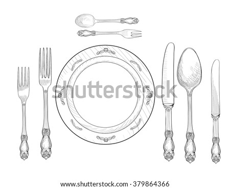 Table setting set. Fork, Knife, Spoon, plate sketch set. Cutlery hand drawing collection. Catering engraved vector illustration. Restaurant service.  Banquet  still life - stock vector