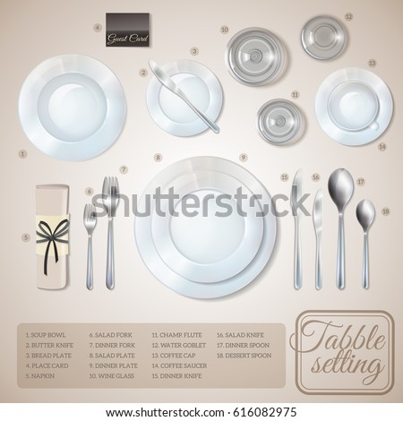 Table Setting Top View Infographics Information Stock Vector ...