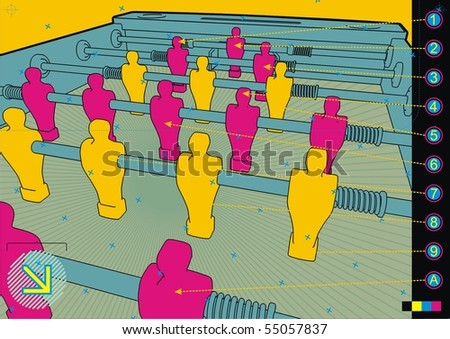 Table soccer design template close up. - stock vector