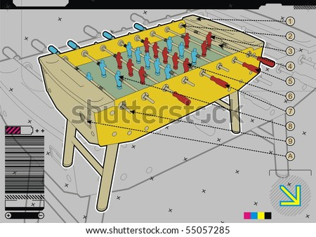 Table soccer design template on grey background. - stock vector
