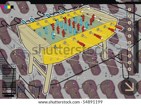 Table soccer design template with screw background. - stock vector