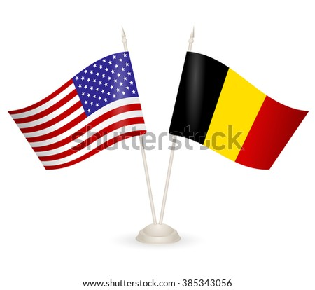 Table stand with flags of Belgia and USA. Symbolizing the cooperation between the two countries. flag icons. Two flag vector. flag pole. american flag.  - stock vector