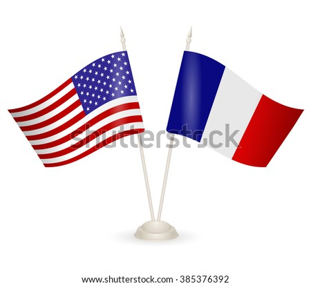 Table stand with flags of France and USA. Symbolizing the cooperation between the two countries. flag icons. Two flag vector. flag pole. american flag.  - stock vector