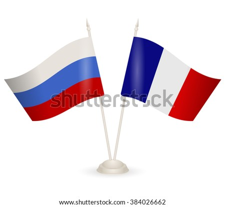 Table stand with flags of Russia and France. Symbolizing the cooperation between the two countries. flag icons. flag vector. flag pole.  - stock vector
