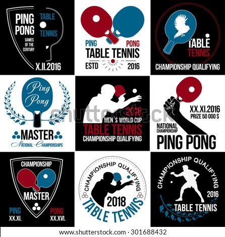 Table tennis logo. Ping pong logo.Game ping pong icons.Racket, ball ping pong icon. Wreath of the winner.Hand with the racket. Athlete plays table tennis logo. Sports logos.Summer sports game logotype - stock vector
