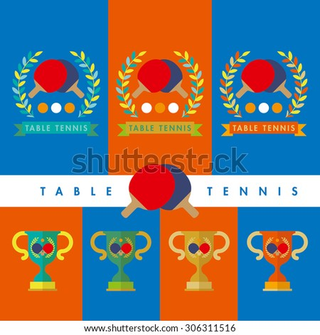 Table Tennis, Ping Pong, illustration Award, cup, winner - stock vector