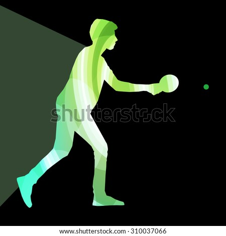 Table tennis player man silhouette illustration vector background colorful concept made of transparent curved shapes